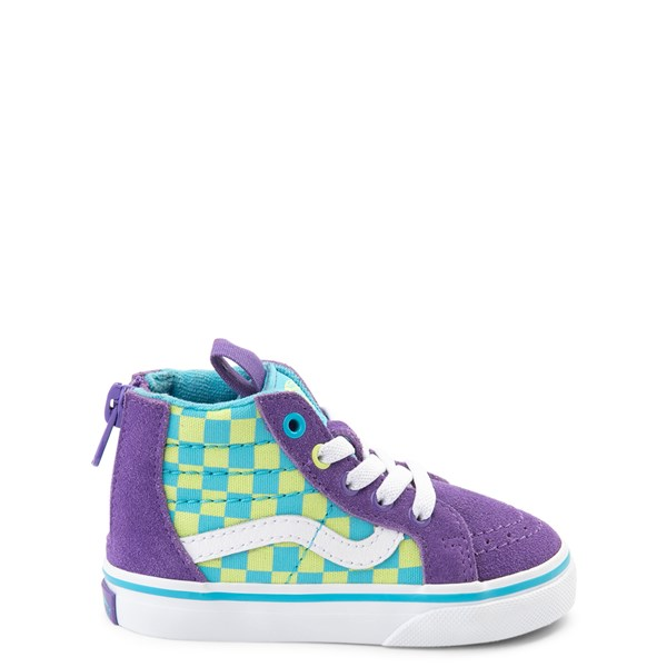 Vans Sk8 Hi Zip Checkerboard Skate Shoe - Baby / Toddler - Violet / Cyan
