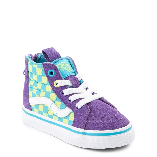 alternate view Vans Sk8 Hi Zip Checkerboard Skate Shoe - Baby / Toddler - Violet / CyanALT1