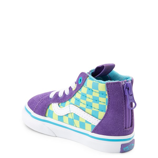 alternate view Vans Sk8 Hi Zip Checkerboard Skate Shoe - Baby / Toddler - Violet / CyanALT2