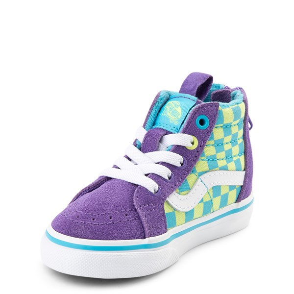 alternate view Vans Sk8 Hi Zip Checkerboard Skate Shoe - Baby / Toddler - Violet / CyanALT3
