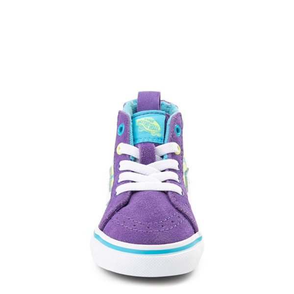 alternate view Vans Sk8 Hi Zip Checkerboard Skate Shoe - Baby / Toddler - Violet / CyanALT4