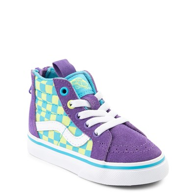 Alternate view of Vans Sk8 Hi Zip Checkerboard Skate Shoe - Baby / Toddler