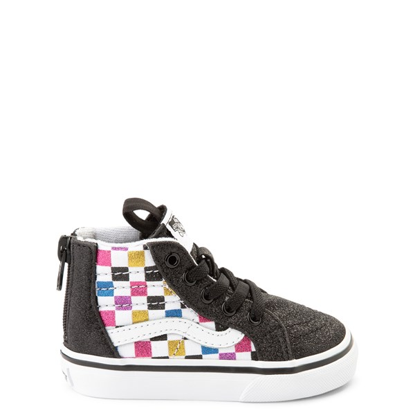 Vans Sk8 Hi Zip Glitter Checkerboard Skate Shoe - Baby / Toddler - Black / Multi