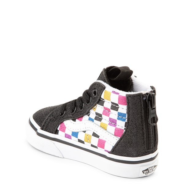 alternate view Vans Sk8 Hi Zip Glitter Chex Skate Shoe - Baby / ToddlerALT2