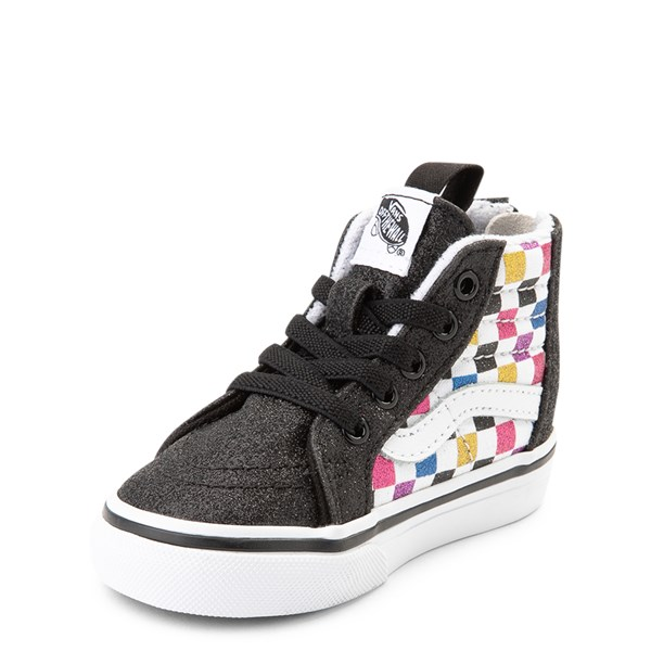 alternate view Vans Sk8 Hi Zip Glitter Chex Skate Shoe - Baby / ToddlerALT3