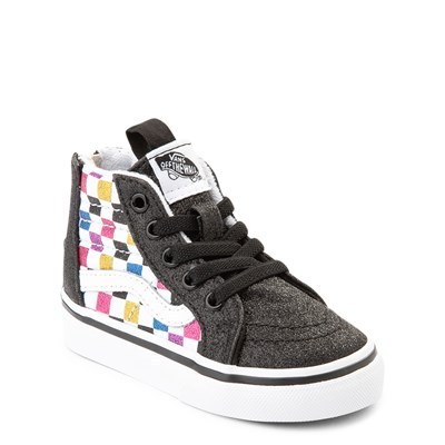 Alternate view of Vans Sk8 Hi Zip Glitter Checkerboard Skate Shoe - Baby / Toddler