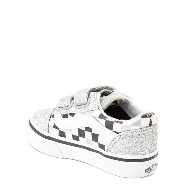 alternate view Vans Old Skool V Glitter Chex Skate Shoe - Baby / ToddlerALT2