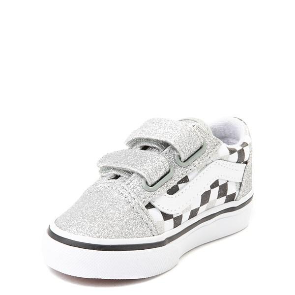 alternate view Vans Old Skool V Glitter Chex Skate Shoe - Baby / ToddlerALT3