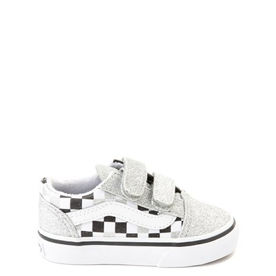 Main view of Vans Old Skool V Glitter Checkerboard Skate Shoe - Baby / Toddler