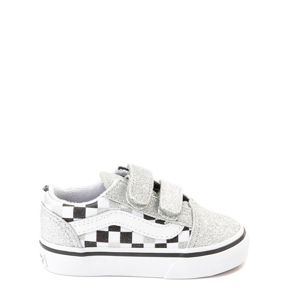 Vans Old Skool V Glitter Chex Skate Shoe - Baby / Toddler