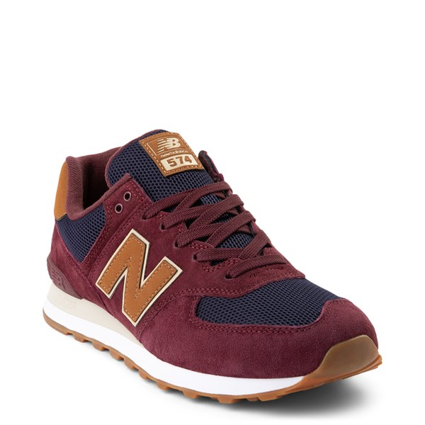 alternate view Mens New Balance 574 Athletic Shoe - Burgundy / Navy / TanALT1