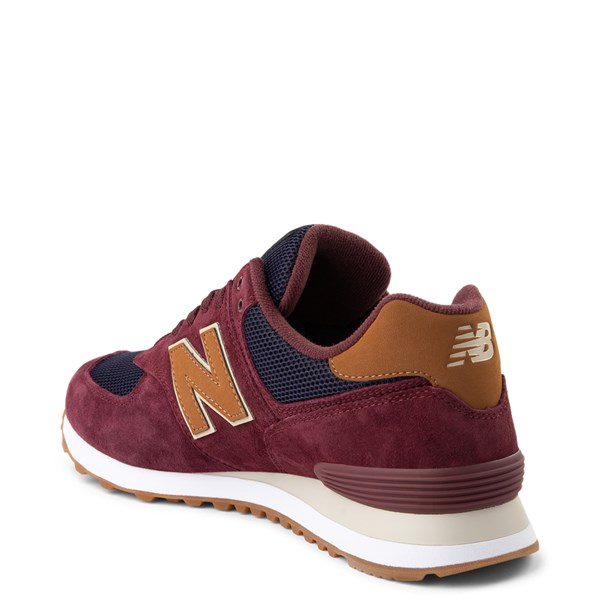 alternate view Mens New Balance 574 Athletic Shoe - Burgundy / Navy / TanALT2