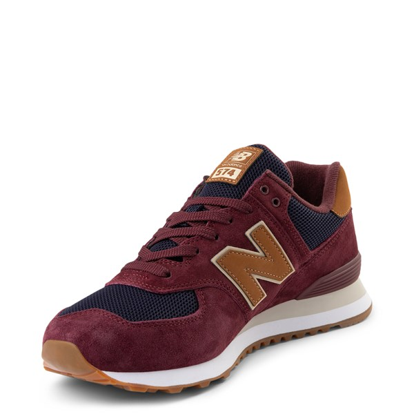 alternate view Mens New Balance 574 Athletic Shoe - Burgundy / Navy / TanALT3