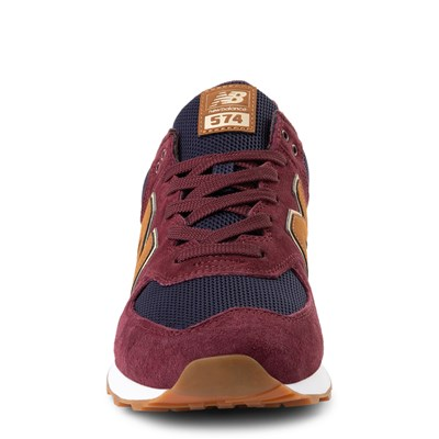 jamón Prohibición Locura  Mens New Balance 574 Athletic Shoe - Burgundy / Navy / Tan | Journeys