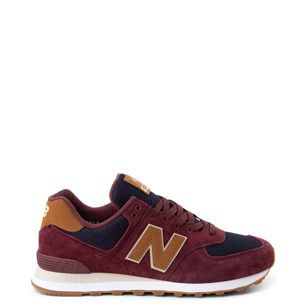 Mens New Balance 574 Athletic Shoe - Burgundy / Navy / Tan