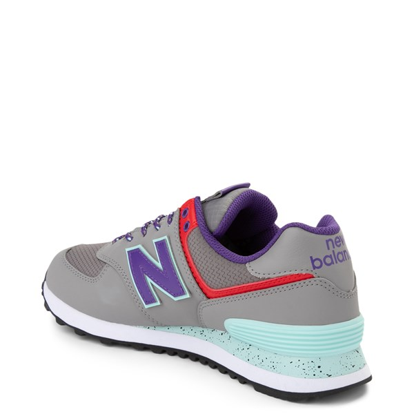 alternate view Womens New Balance 574 Athletic Shoe - Gray / Purple / RedALT2