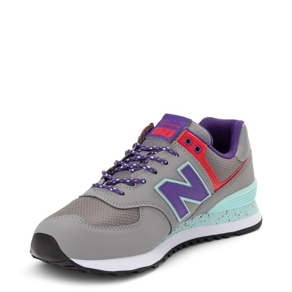 alternate view Womens New Balance 574 Athletic Shoe - Gray / Purple / RedALT3