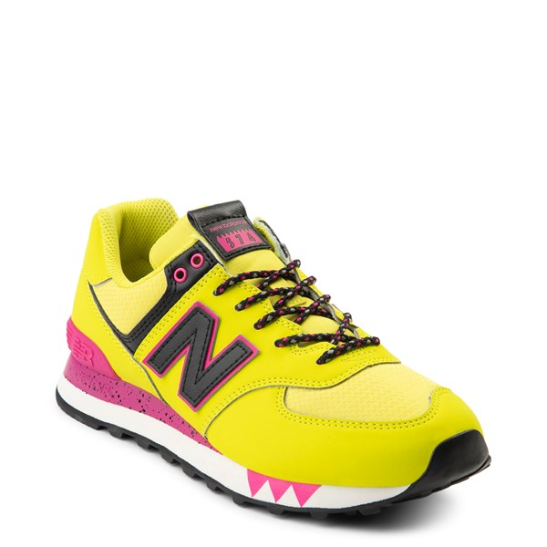 alternate view Womens New Balance 574 Athletic Shoe - Yellow / Pink / BlackALT1