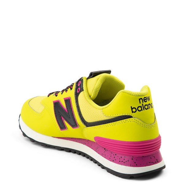 alternate view Womens New Balance 574 Athletic Shoe - Yellow / Pink / BlackALT2