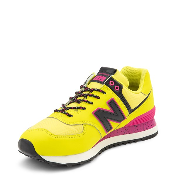 alternate view Womens New Balance 574 Athletic Shoe - Yellow / Pink / BlackALT3