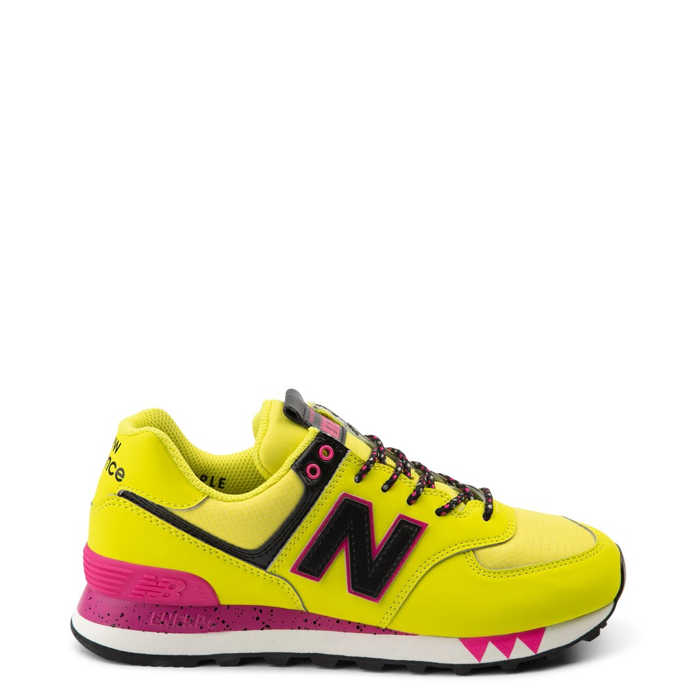 Womens New Balance 574 Athletic Shoe - Yellow / Pink / Black
