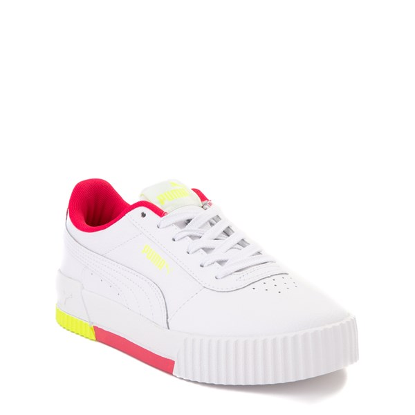 alternate view Puma Carina Athletic Shoe - Big Kid - White / Pink / VoltALT1