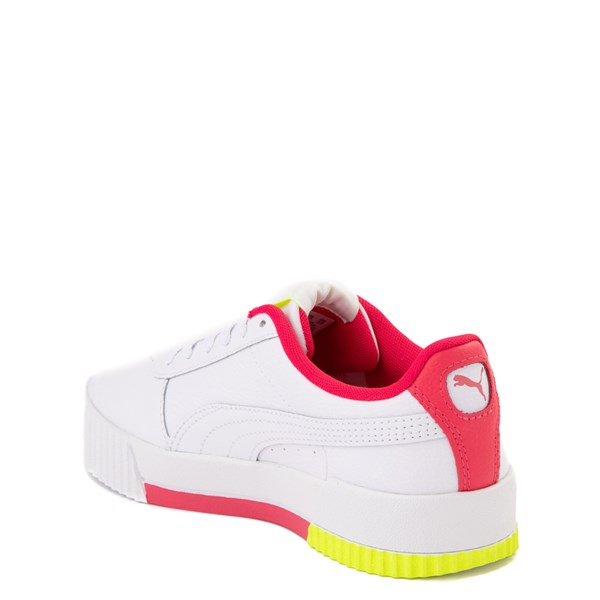 alternate view Puma Carina Athletic Shoe - Big Kid - White / Pink / VoltALT2