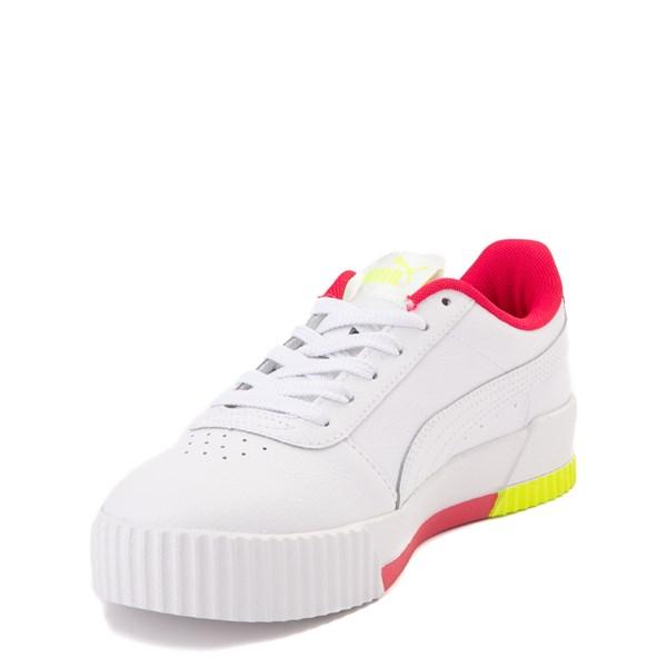 alternate view Puma Carina Athletic Shoe - Big Kid - White / Pink / VoltALT3