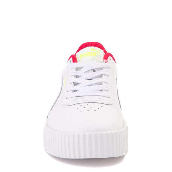 alternate view Puma Carina Athletic Shoe - Big Kid - White / Pink / VoltALT4