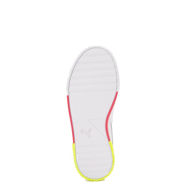 alternate view Puma Carina Athletic Shoe - Big Kid - White / Pink / VoltALT5