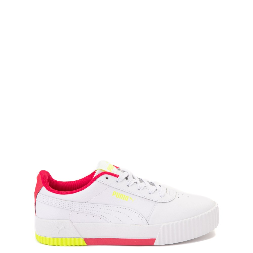 Puma Carina Athletic Shoe - Big Kid - White / Pink / Volt