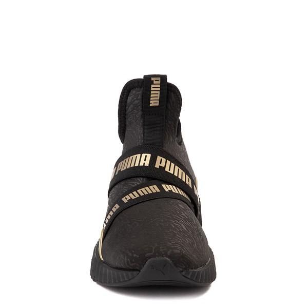 alternate view Puma Defy Mid Athletic Shoe - Big Kid - Black / GoldALT4