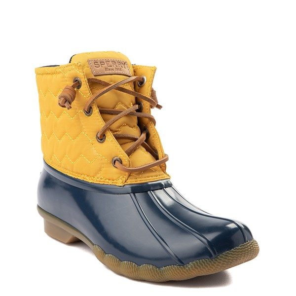 alternate view Womens Sperry Top-Sider Saltwater Quilted Nylon Duck Boot - Yellow / NavyALT1