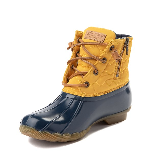 alternate view Womens Sperry Top-Sider Saltwater Quilted Nylon Duck Boot - Yellow / NavyALT3