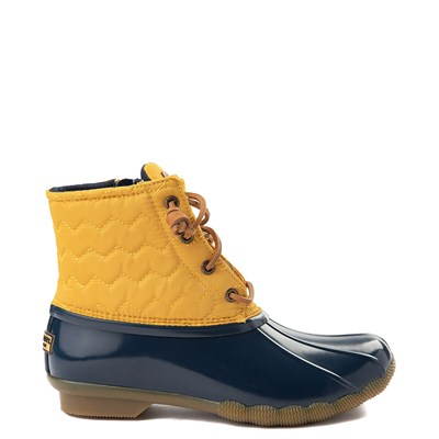 Main view of Womens Sperry Top-Sider Saltwater Quilted Nylon Duck Boot - Yellow / Navy