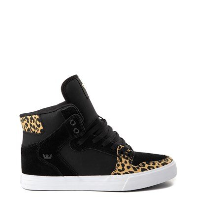 Main view of Mens Supra Vaider Hi Skate Shoe - Black / Leopard