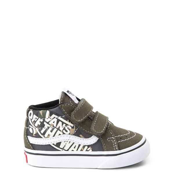 Vans Sk8 Mid V Off the Wall Skate Shoe - Baby / Toddler - Olive / Camo