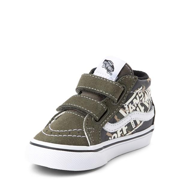 alternate view Vans Sk8 Mid V Off the Wall Skate Shoe - Baby / Toddler - Olive / CamoALT3