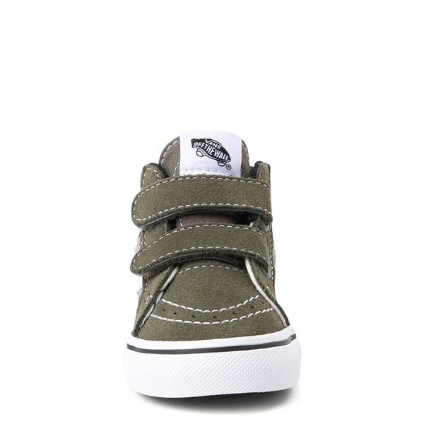 alternate view Vans Sk8 Mid V Off the Wall Skate Shoe - Baby / Toddler - Olive / CamoALT4