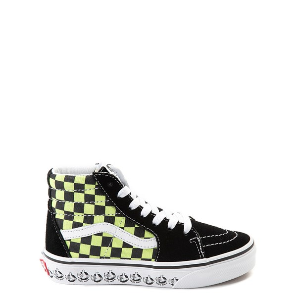 Default view of Vans Sk8 Hi BMX Checkerboard Skate Shoe - Little Kid / Big Kid - Black / Lime