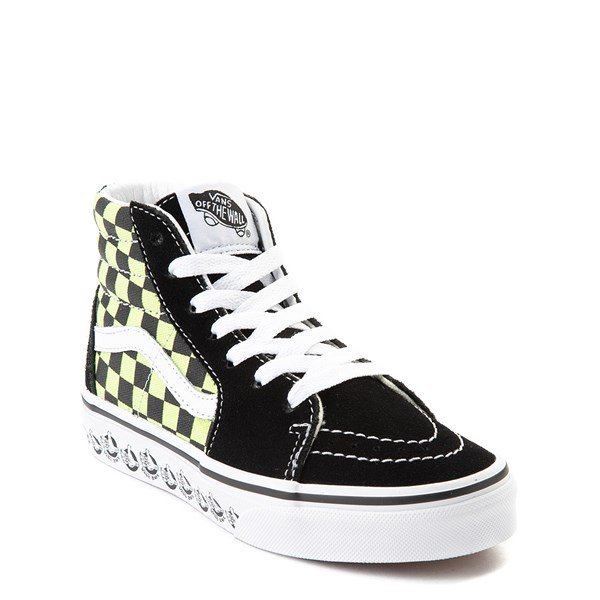 alternate view Vans Sk8 Hi BMX Checkerboard Skate Shoe - Little Kid / Big Kid - Black / LimeALT1
