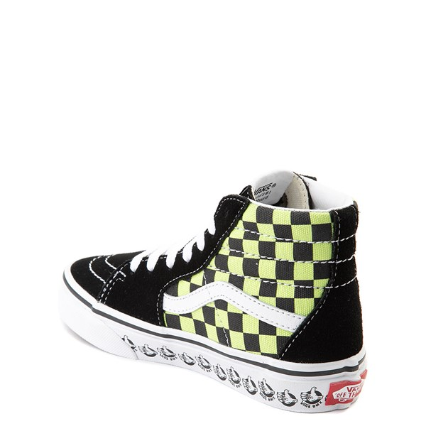 alternate view Vans Sk8 Hi BMX Checkerboard Skate Shoe - Little Kid / Big Kid - Black / LimeALT2
