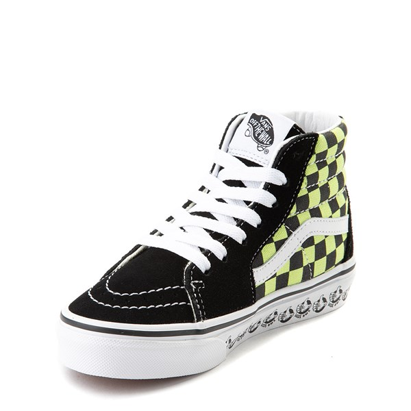 alternate view Vans Sk8 Hi BMX Checkerboard Skate Shoe - Little Kid / Big Kid - Black / LimeALT3