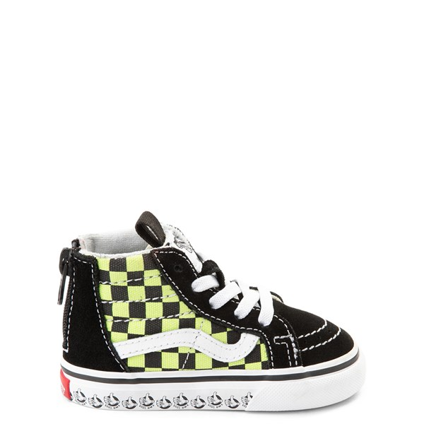 Default view of Vans Sk8 Hi Zip BMX Checkerboard Skate Shoe - Baby / Toddler - Black / Lime