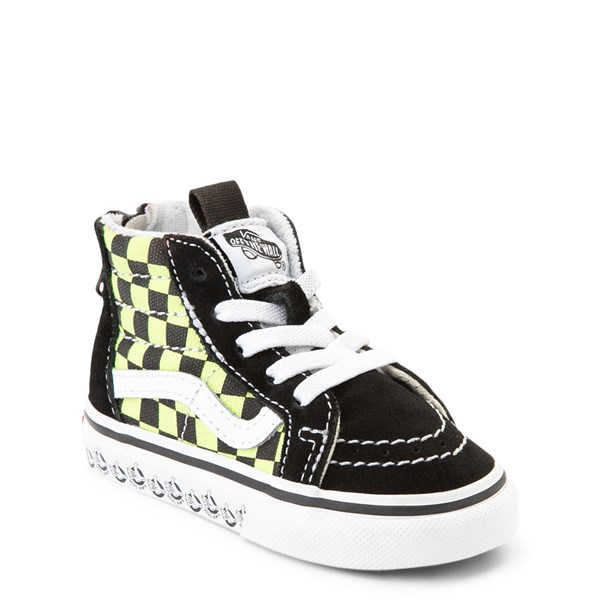 Alternate view of Vans Sk8 Hi Zip BMX Checkerboard Skate Shoe - Baby / Toddler - Black / Lime