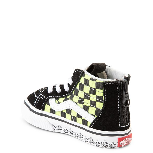 alternate view Vans Sk8 Hi Zip BMX Checkerboard Skate Shoe - Baby / Toddler - Black / LimeALT2