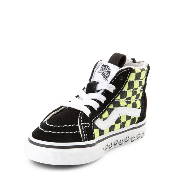 alternate view Vans Sk8 Hi Zip BMX Checkerboard Skate Shoe - Baby / Toddler - Black / LimeALT3