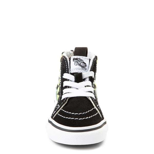 alternate view Vans Sk8 Hi Zip BMX Checkerboard Skate Shoe - Baby / Toddler - Black / LimeALT4