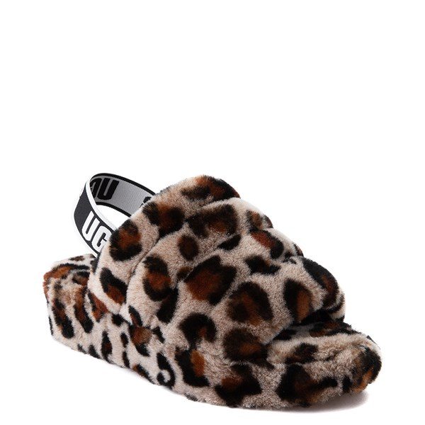 alternate view Womens UGG® Fluff Yeah Slide Sandal - LeopardALT1