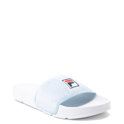Alternate view of Womens Fila Terry Slide Sandal - Light Blue / White